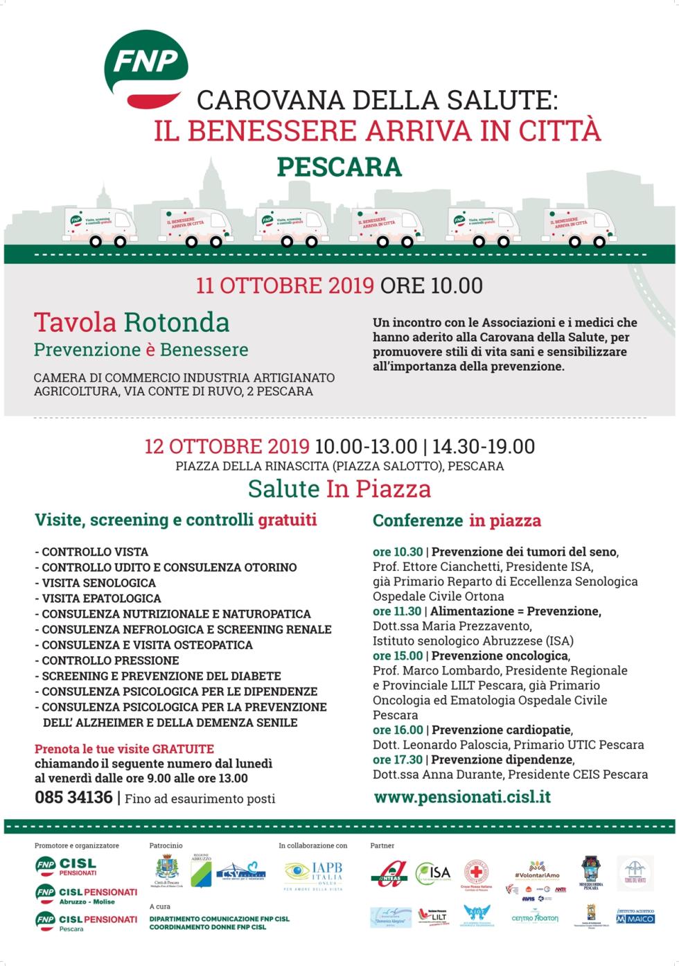 Carovana Della Salute In Arrivo La Tappa Di Pescara Fnp Cisl Abruzzo Molise